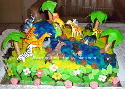 Incredible Coolest Jungle Birthday Cake Personalised Birthday Cards Bromeletsinfo