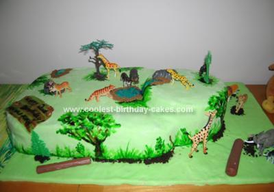 Homemade Jungle Scene Cake
