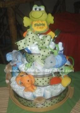 Homemade Jungle Toy Diaper Cake Idea