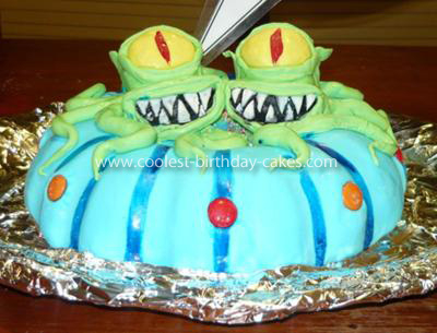 Homemade Kang and Kodos Birthday Cake
