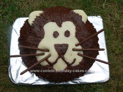 Homemade Kids Lion Birthday Cake