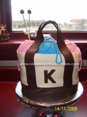 Homemade Knitting Bag Cake
