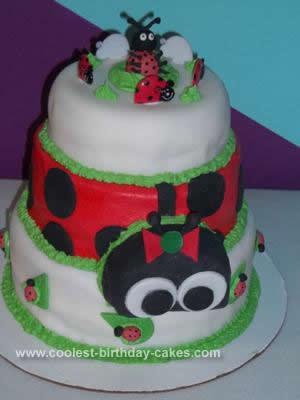 Marvelous Cute Homemade 3 Tier Ladybug Birthday Cake Funny Birthday Cards Online Chimdamsfinfo