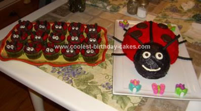 Homemade Ladybug Cake and Matching Cup Cakes