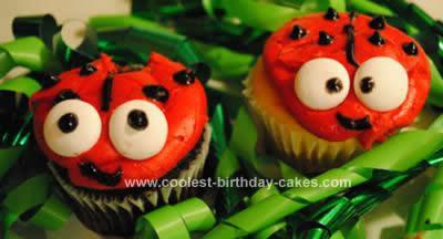 Homemade Ladybug Cupcakes and Birthday Cake