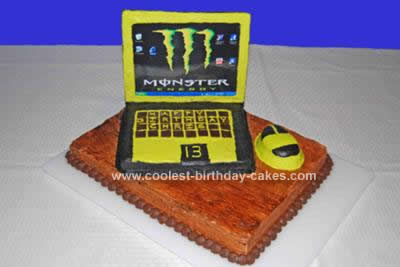 Homemade Laptop Monster Computer Cake