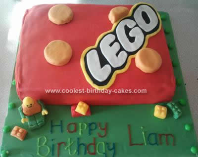 Homemade Lego Block Childrens Cake
