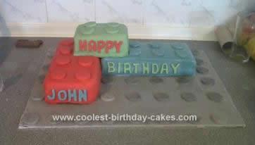 Homemade Lego Bricks Birthday Cake