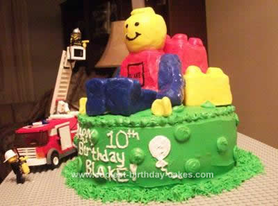 Homemade Lego Man Birthday Cake