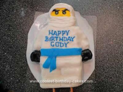 Homemade Lego Ninjago on Spinner Birthday Cake