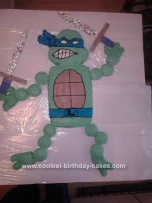 Homemade Leonardo Teenage Mutant Ninja Turtle Cake