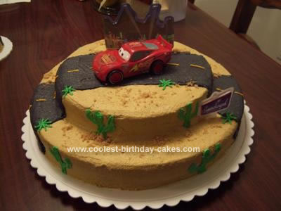 Homemade Lightening McQueen Birthday Cake