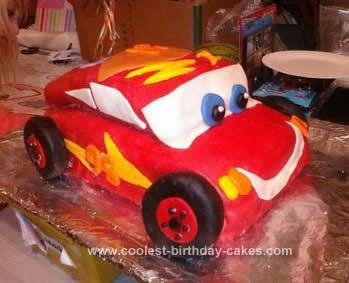 Homemade Lightening McQueen Cars Birthday Cake