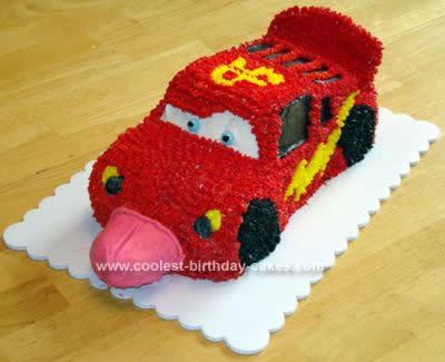Homemade Lighting McQueen Cake 3rd Birthday Cake