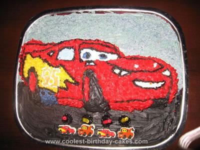 Homemade Lightning Mc Queen Birthday Cake
