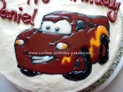 Homemade Lightning McQueen Birthday Cake