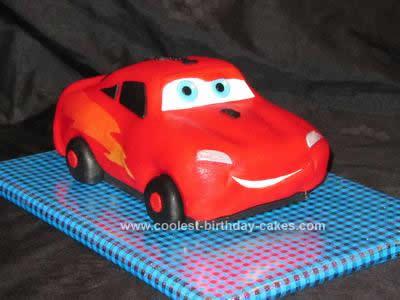 Homemade Lightning McQueen Birthday Cake