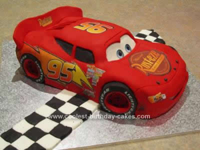 Homemade Lightning McQueen Cake