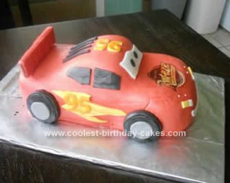 Homemade Lightning McQueen Cake