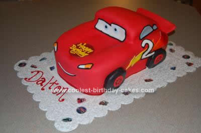 Homemade Lightning Mcqueen Car Cake