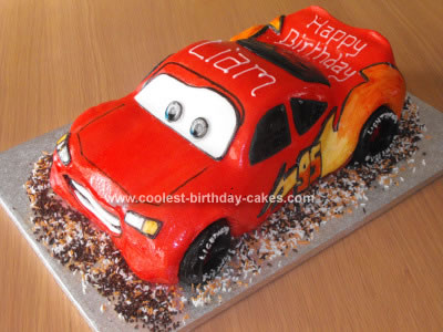 Homemade Lightning McQueen Cars Cake