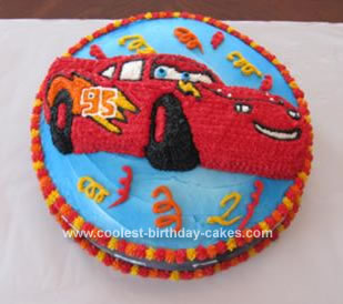 Homemade Lightning McQueen in the Winner's Circle Cake
