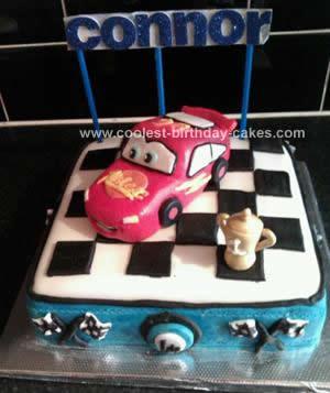 Homemade Lightning Mqueen Birthday Cake
