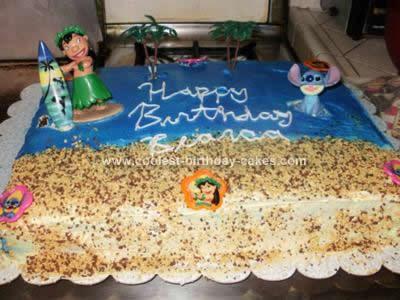Homemade  Lilo & Stitch Birthday Cake
