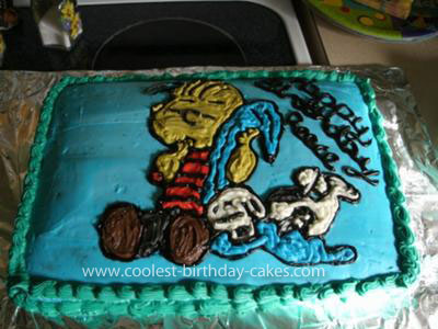 Homemade Linus and Snoopy Cake