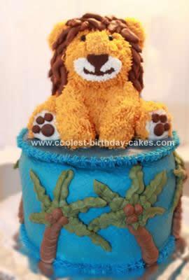 Homemade Lion 1st Birthday Cake