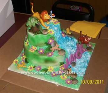 Marvelous Cool Homemade 2 Tier Lion King Birthday Cake Birthday Cards Printable Opercafe Filternl