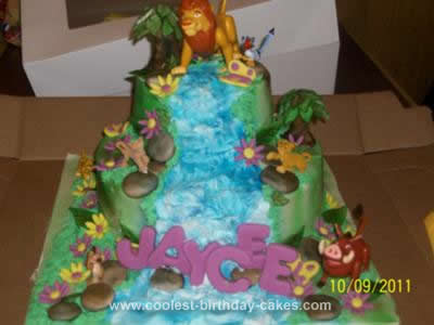 Cool Homemade 2 Tier Lion King Birthday Cake