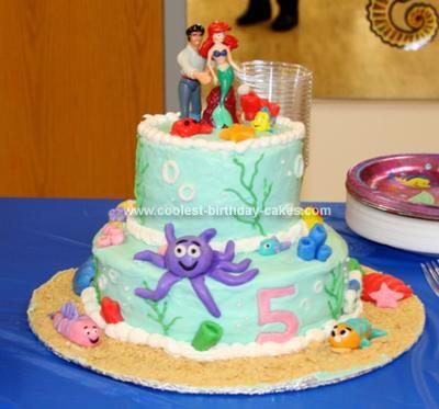 Homemade Little Mermaid 5th Birthday Cake
