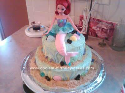 Hmemade Little Mermaid Birthday Cake