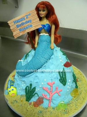 Homemade Little Mermaid Birthday Cake