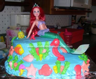 Homemade Little Mermaid Cake