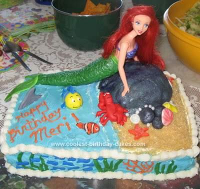 Homemade Little Mermaid Pool Party Birthday Cake