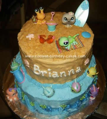 Homemade Littlest Pet Shop Beach Scene Cake Idea