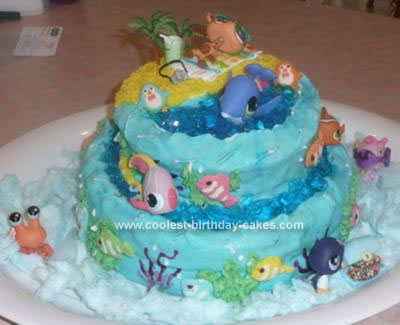 Homemade Littlest Pet Shop Cake  - A Day at the Beach