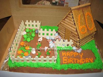 Homemade Log Cabin Birthday Cake