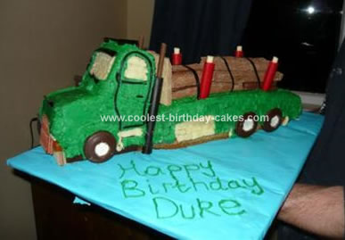 Homemade Log Truck Birthday Cake