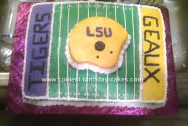 Enjoyable Coolest Lsu Football Cake Design Personalised Birthday Cards Veneteletsinfo