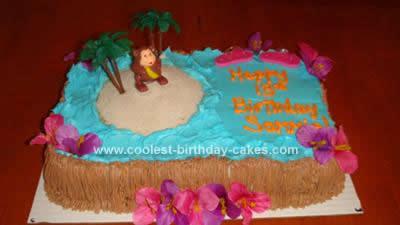 Homemade Luau Birthday Cake