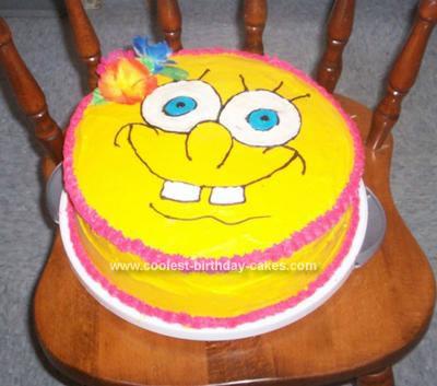 Homemade Luau Spongebob Birthday Cake