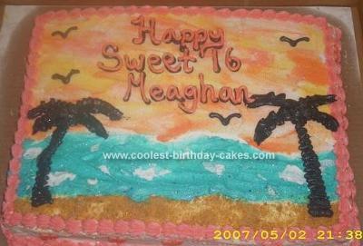 Homemade Luau Sunset Cake