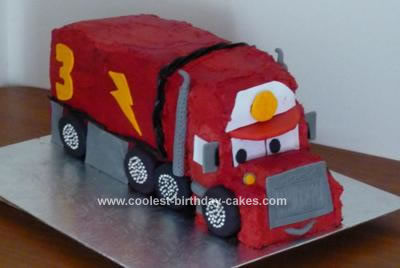 Homemade Mack the Truck Birthday Cake