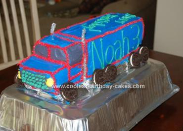 Homemade Mack Truck Birthday Cake
