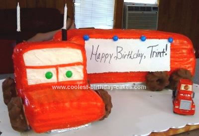 Homemade Mack Truck from Cars Cake