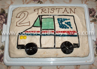 Homemade Mail Truck Birthday Cake