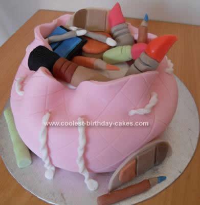 Homemade Makeup Bag Cake
